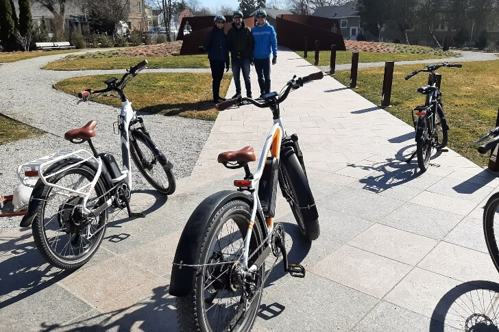 3 men on ebikes at Voices-of-Freedom