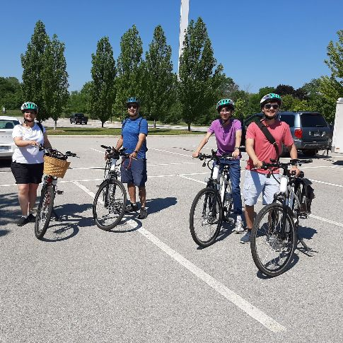 small ebike tour group before tour