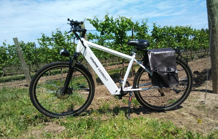 White ebike in a vineyard