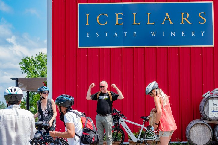 E bike tour group in front of winery